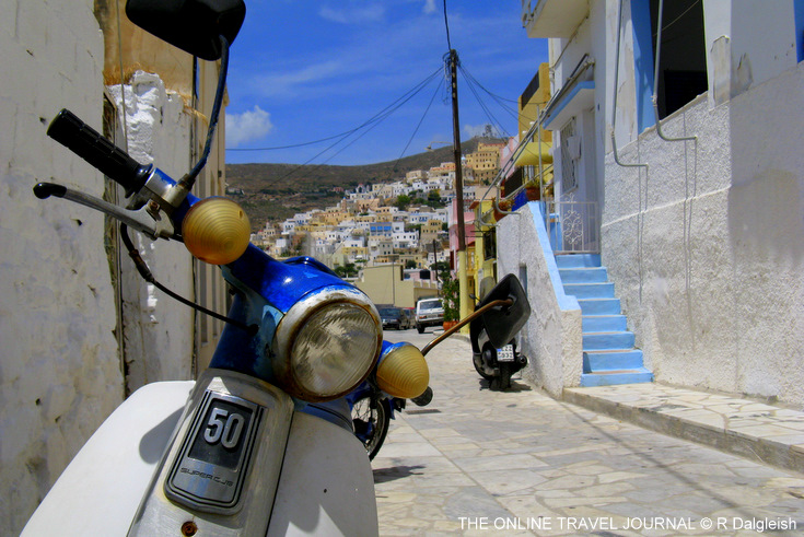 Scooter in the street in Syros, Cyclades Islands, Greece