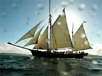 Tall ship Bessie Ellen under sail - ketch rig without top sail
