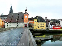 Panorama of Regensburg from the Stone Bridge