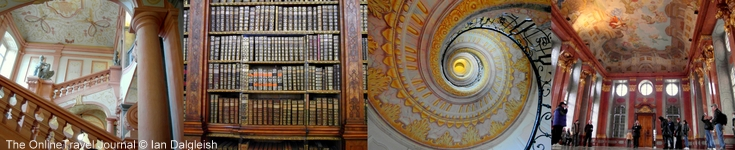 Interior of Melk Abbey Austria showing fine frescos, stucco work and leather bound books in library