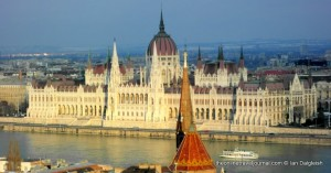 The Hungarian Parliament Building in Budapest viewed across the Danube