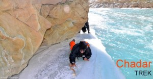 Crawling on narrow ice ledge