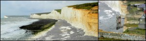 The view west from Birling Gap along Seven Sisters - the cottages and cafe here will surely slip seaward one day