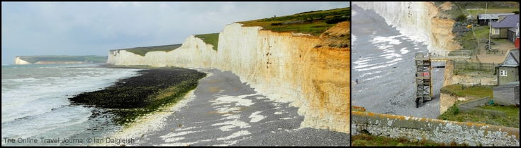 Birling Gap: view westward along chalk faces of Seven Sisters, Sussex