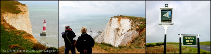 Beachy Head with lighthouse at foot of cliffs, South Downs