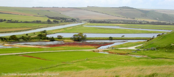 Cuckmere Haven, Sussex: old meanders and channelled river
