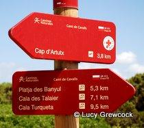 Signpost Cami de Cavalla, Menorca