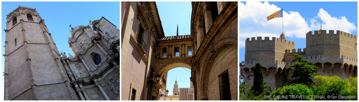 Valencia Cathedral Old City Street and Torres de Serranos
