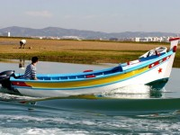 Traditional boat and man gathering shellfish, Ria Formosa. Portugal