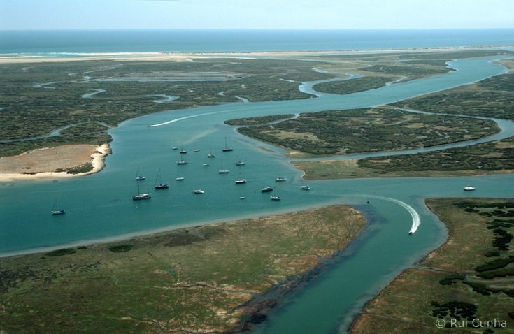Aerial view of Ria Formosa, Algarve, Portugal