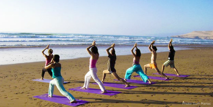 Yoga on the beach at Surf Maroc, Morocco