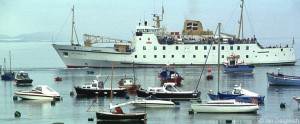 Scillonian lll ferry leaving St Mary's, Isles of Scilly