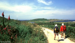 Walking on Bryher Isles of Scilly