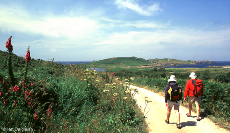 Walking on Bryher in Isles of Scilly