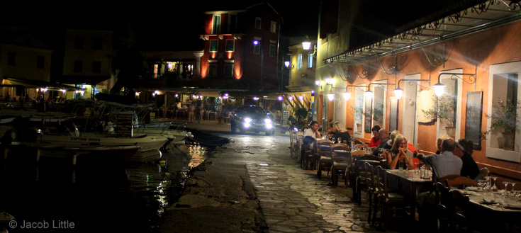 Loggos quay & restaurants at night, Paxos, Greek Islands