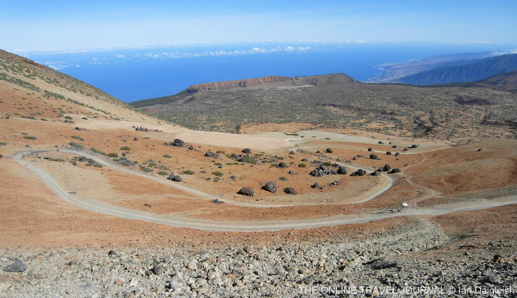 Looking back across caldera rim along north coast Tenerife