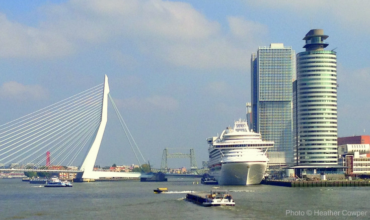 Erasmus Bridge and Crown Princess_Rotterdam Harbour