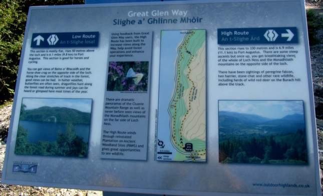 Great Glen Way High and Low route altenatives